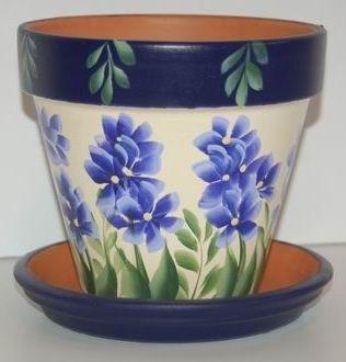"""""""Field flowers"""" clay flower pot"""