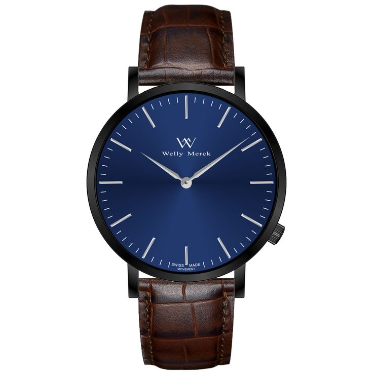 A round black case with classically curved lugs,elegant hue, the silver hands match the case colors and underscore their prominent design,color-coordinated leather strap, inimitable and upscale watch.