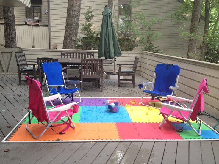 I actually followed a pin's directions to make a splash pad for my deck.  See how at www.funjani.blogspot.com