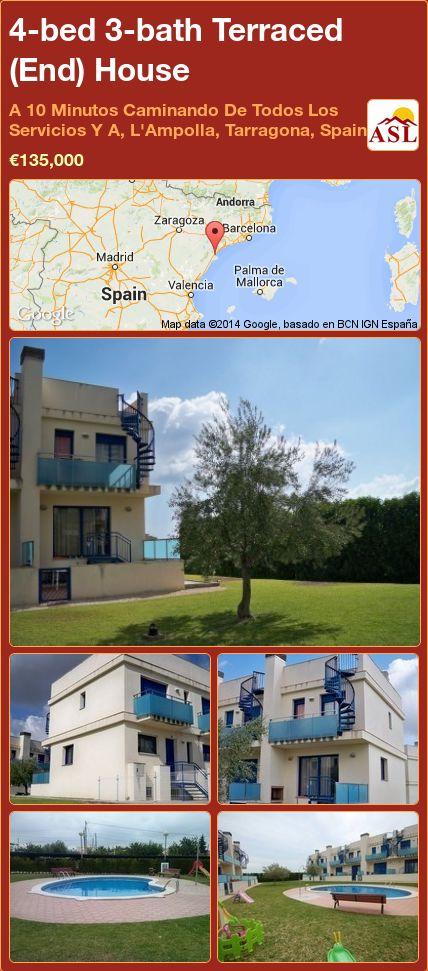 4-bed 3-bath Terraced (End) House in A 10 Minutos Caminando De Todos Los Servicios Y A, L'Ampolla, Tarragona, Spain ►€135,000 #PropertyForSaleInSpain