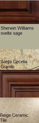 Our finalized kitchen color scheme. Mocha cabinets, Santa Cecilia granite, Sherwin Williams Svelte Sage paint and a generic beige ceramic tile floor.