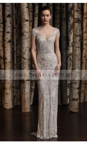 sku:hmcf1028; Silhouette:Sheath; Fabric:Tulle; Back Details:Zipper; Neckline:Jewel; Waist:Natural; Colour:Array; Sleeve Length:Short Sleeves;