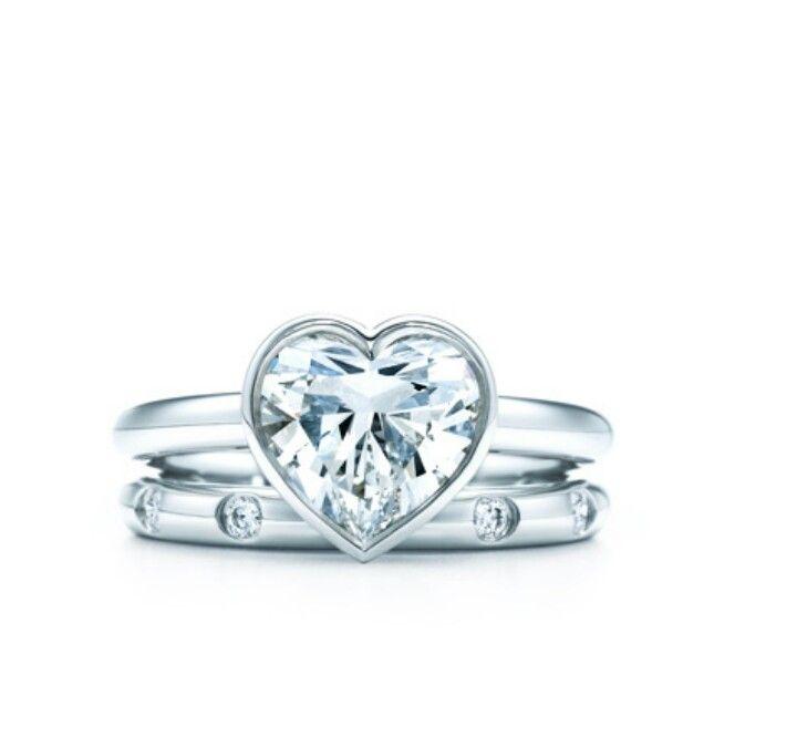 Tiffany Bezel Heart Diamond Engagement Ring Wedding Ideas