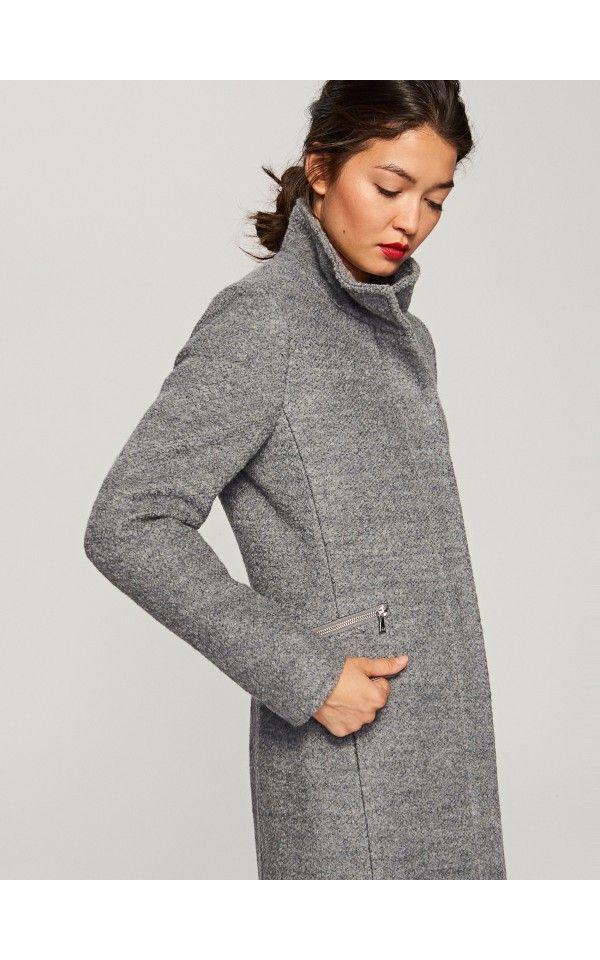 LADIES` COAT, Kabátok, dzsekik, szÜrke, RESERVED