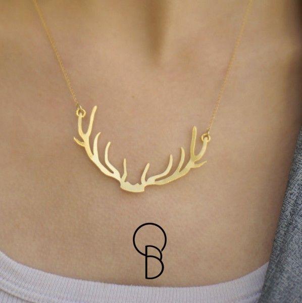 Gabriel Balsanuff Design colar Chifre de Cervo Veado em prata banhado a ouro Joias feitas a mão