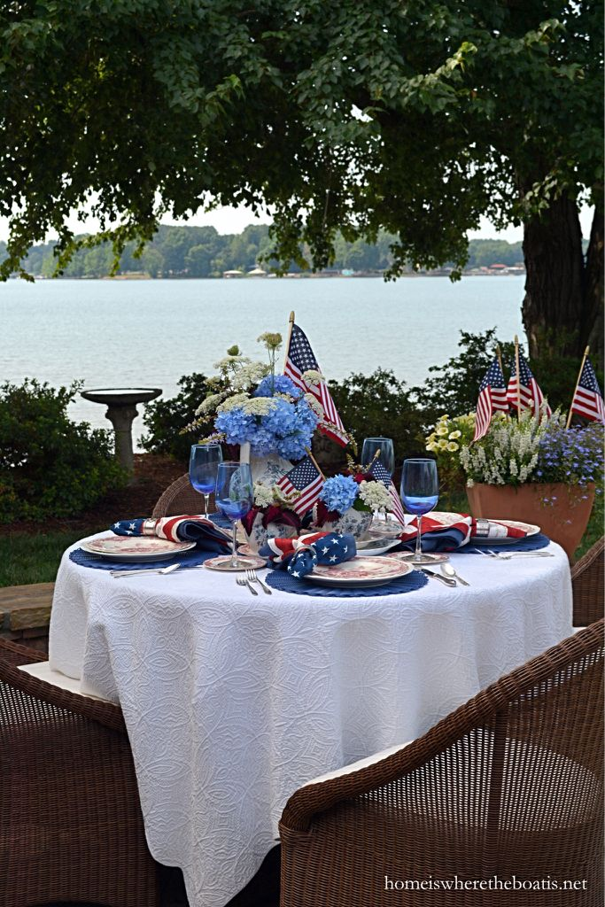 A Patriotic Red, White and Blooming Table for Independence Day | homeiswheretheboatis.net #july4th #flag #MemorialDay