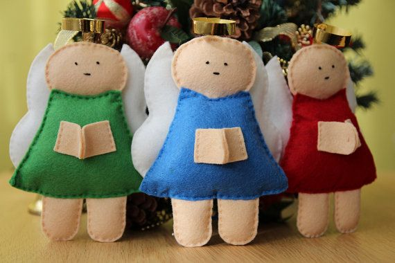 Praying angel softie hand stitched felt ornament many by euquefiz, €12.00