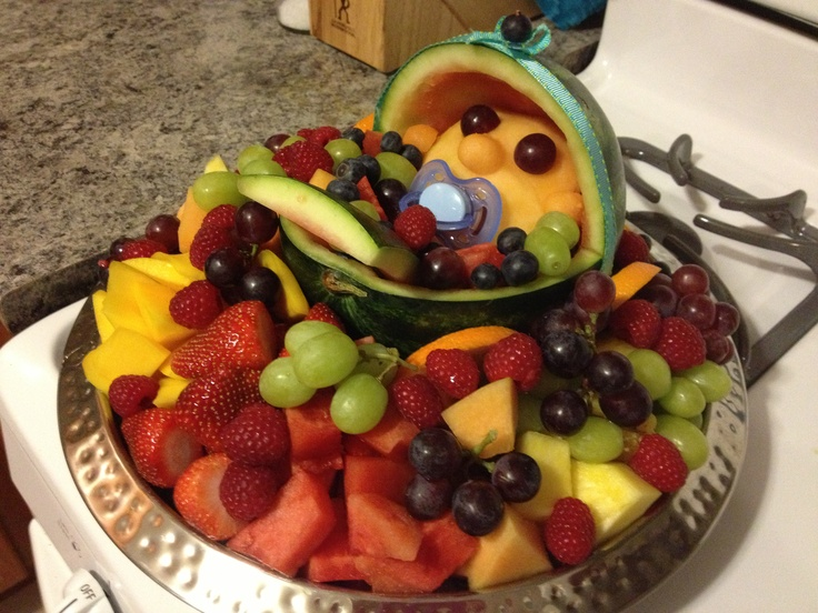 baby shower fruit tray i made baby watermelon for the carriage