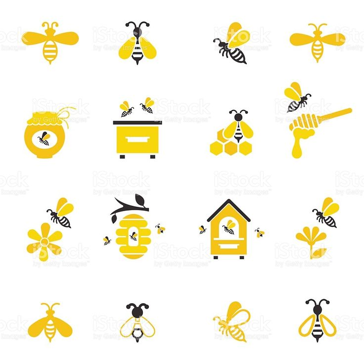Bee and honey icon set. royalty-free stock vector art