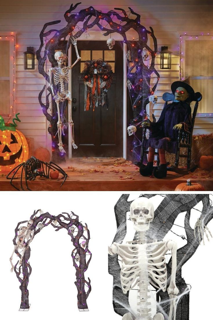 This Skeleton Haunted House Door Arch Is Awesome Halloween Holiday Decor Front Porch Yard Decoration Dec