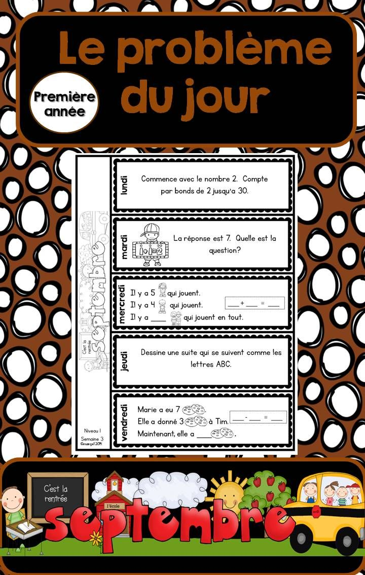 Le problème du jour pour première année!  Problem of the Day in French for First Grade!  September version.  $