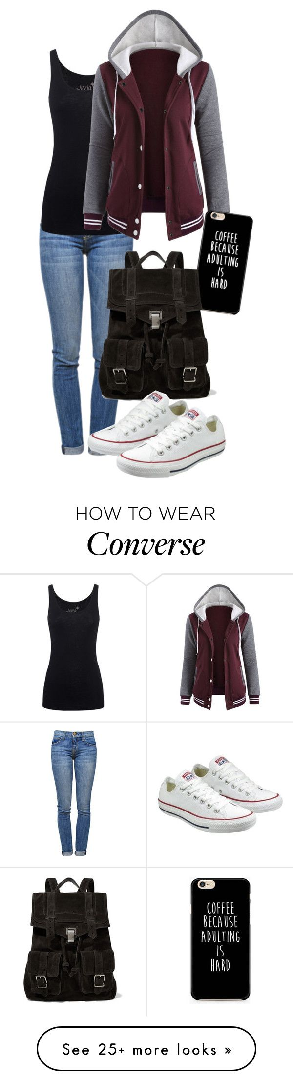 """school days"" by deliag on Polyvore featuring Current/Elliott, Juvia, Proenza Schouler and Converse"