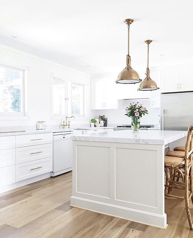 White Kitchen But With Polished Nickel As Opposed To Brass