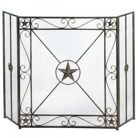 Western Star Iron Fireplace Screen In 2020 Fireplace Screens