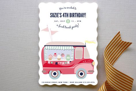 Food Truck Party! Children's Birthday Party Invitations