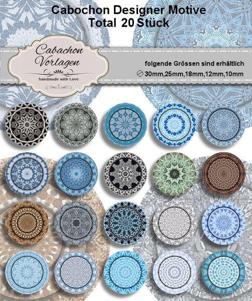 Cabochon Vorlagen Kreis Rund Download CA218 von Vintage Styler - Ihr Designer Cabochon Spezialist auf DaWanda.com
