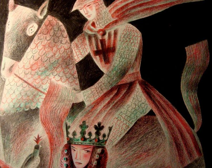 Clive Hicks-Jenkins. Detail of a study for 'Christmas at Camelot'. Gawain.