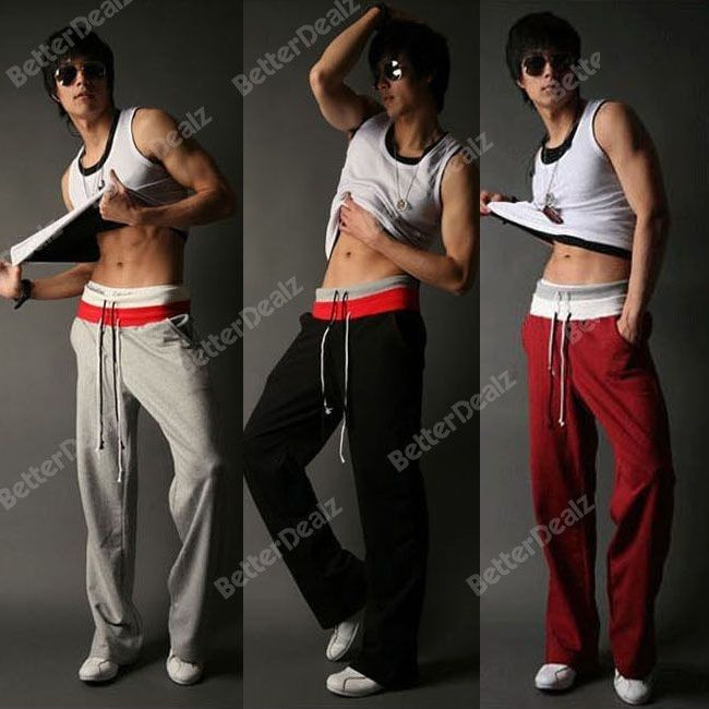 Mens Casual Training Jogging Fit Sport Double Rope With Pockets Baggy Gym Pants Long Trousers