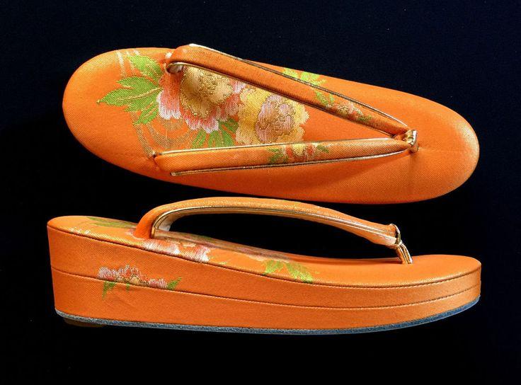 Japanese Zori - Japanese Kimono Shoes - Orange Gold And Green Flowers
