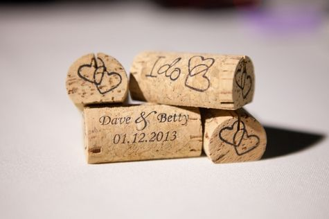 Custom corks // Corkey Creations // W Photography // http://www.theknot.com/submit-your-wedding/photo/d1830340-c18c-4a10-8c23-99c44465d391/David-and-Betty