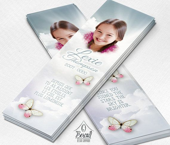 Memorial Bookmark for Girl with Butterflies and Clouds • Celebration of Life for a Child • Funeral Bookmark for Baby Girl • Funeral for Baby OBercailDesign
