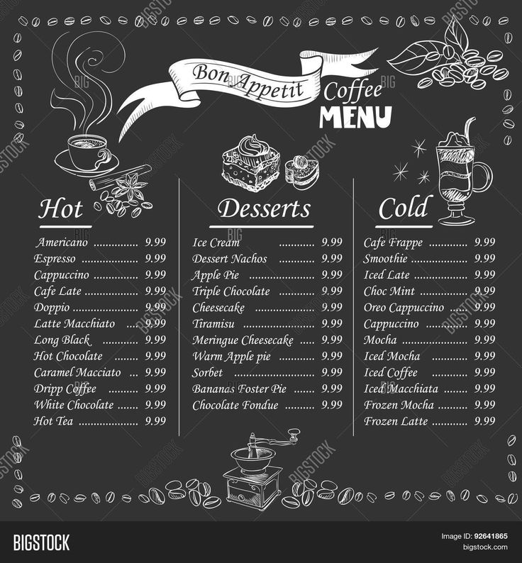 coffee menu on chalkboard                                                       …