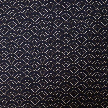 Tissu bleu nuit petit seigaiha points - Couleurs Japon