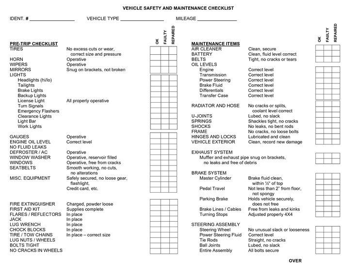Vehicle safety checklist template for Van checklist template