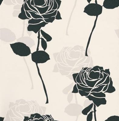 Black & White (BW28745) - Brewers Wallpapers - A stunning stylized rose motif in contrasting colours. Showing in black and grey on white - Please request a sample for true colour match.