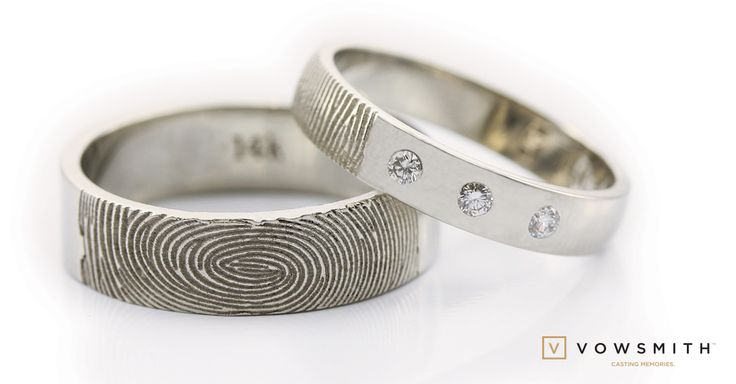 A simple trio! 14k white gold wedding bands, three diamonds for a simple and unique touch. ...and your beloved fingerprint too!