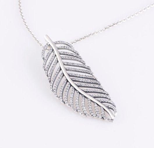 Свет как перо Серебряные подвески стерлингового серебра ювелирные изделия листья ожерелья DIY ювелирных украшений 13L329