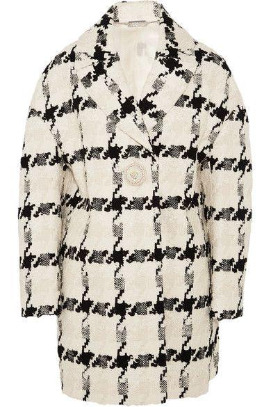Alexander McQueen - Houndstooth Tweed Coat - Ivory - IT