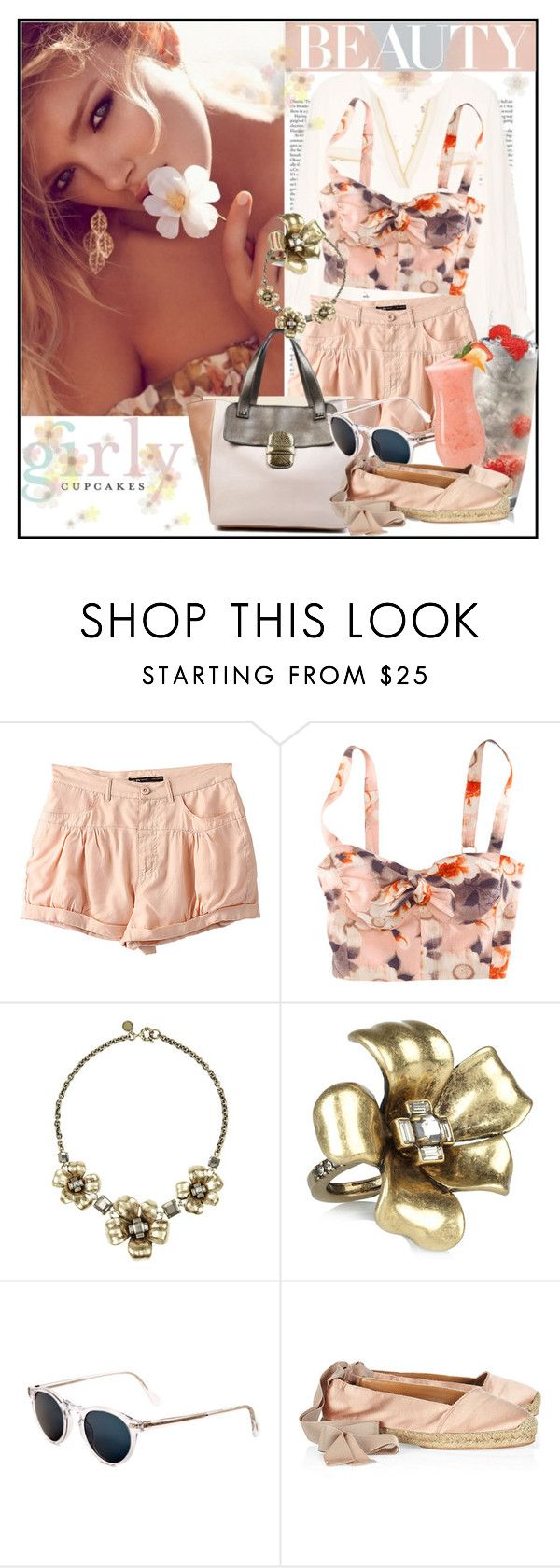 """""""Girl"""" by drn57 ❤ liked on Polyvore featuring H&M, Marc by Marc Jacobs, Behance, House of Fraser, Oliver Peoples, Lanvin, pastels, nude, soft and lanvin shoes"""