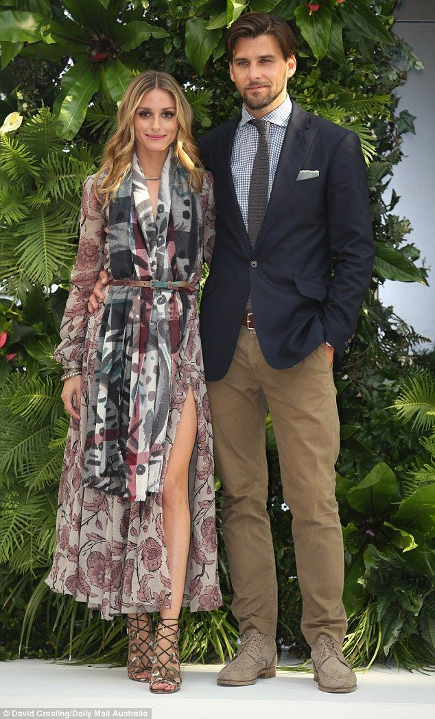 Olivia Palermolooked relaxed and chic at the event, wearing a stunning patterned dress by Burberry which fell in chiffon folds to her ankles with her husband Johannes Huebl at the launch of the campaign on Wednesday at Chadstone in Melbourne