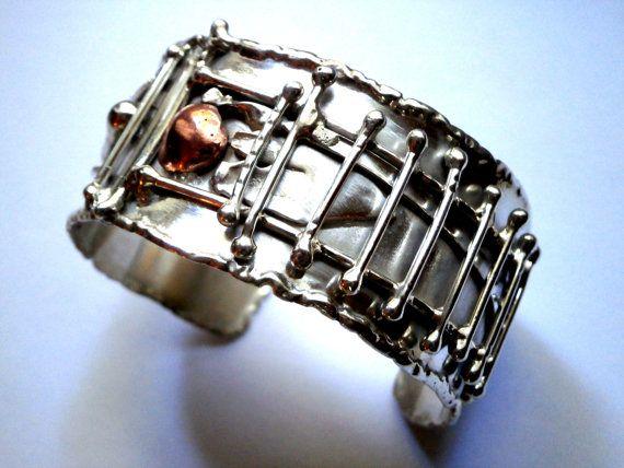 Sterling Silver Cuff Bracelet  Adjustable Melted Design