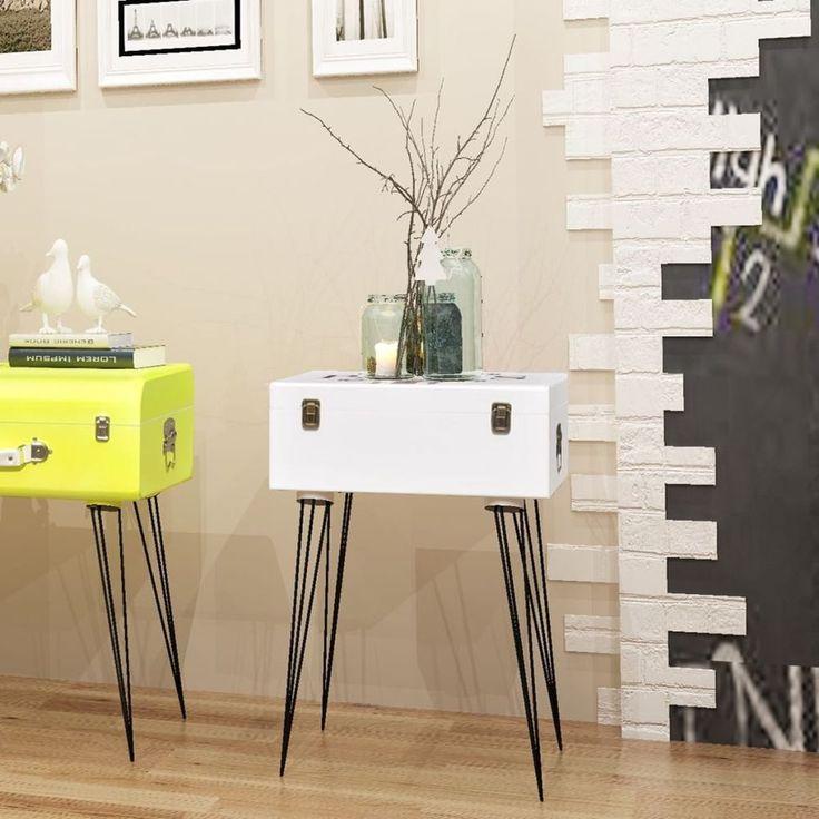 Home Bedside Cabinet Table Bedroom Nightstand Furniture White Modern Steel Legs #HomeBedsideCabinet #Modern
