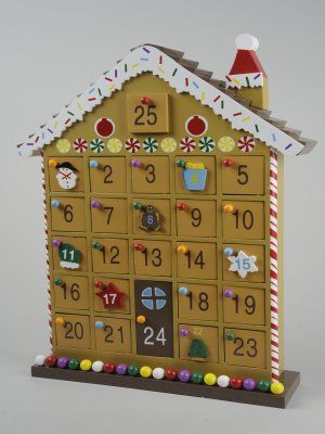 Christmas decorations wooden gingerbread house advent for Advent calendar decoration