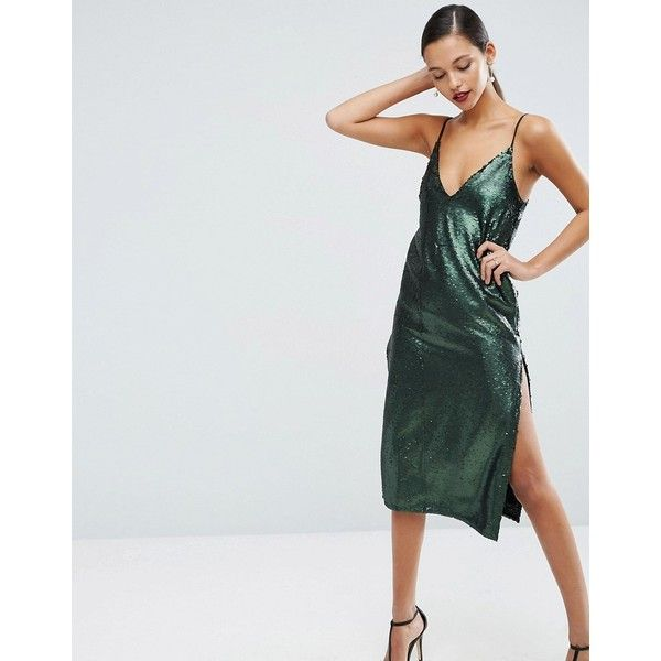 ASOS Sequin Plunge Splice Midi Dress ($34) ❤ liked on Polyvore featuring dresses, green, midi dress, sequin party dresses, sequin cocktail dresses, sequin prom dresses and plunging neckline dress