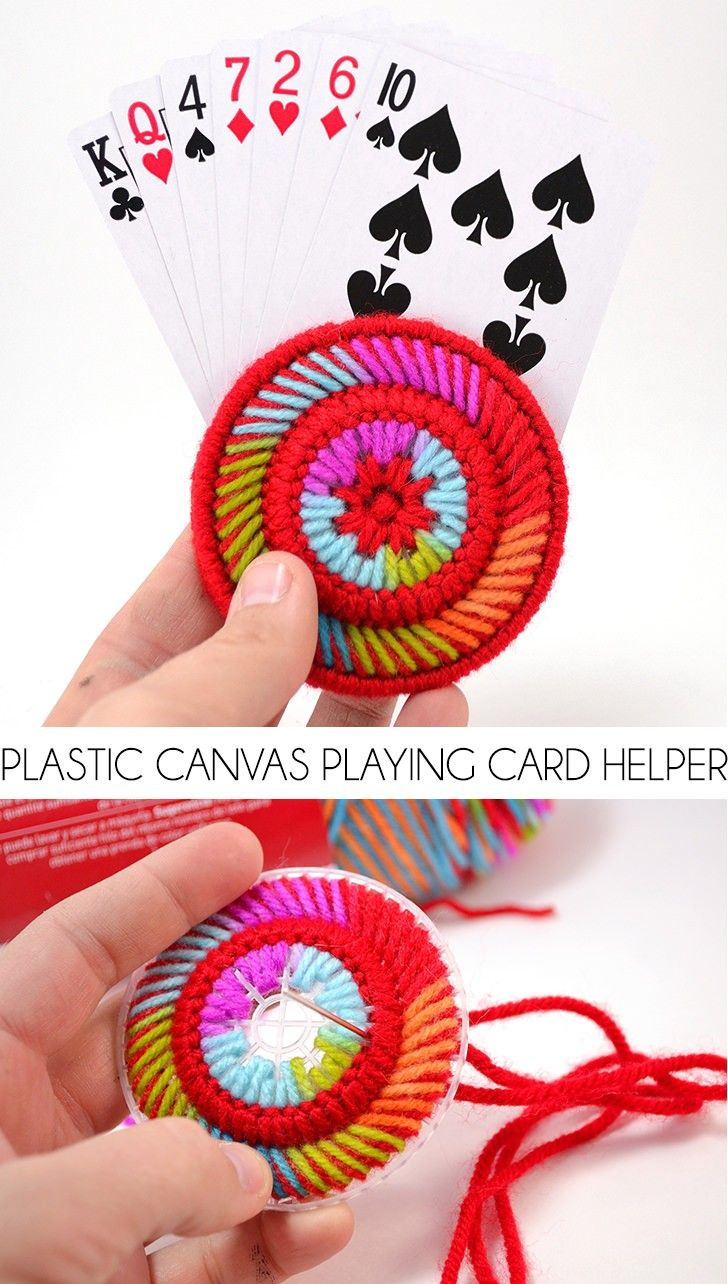 Have trouble holding cards? These plastic canvas playing card helpers are fun to make, cute to look at and keep your hands from cramping while playing cards!