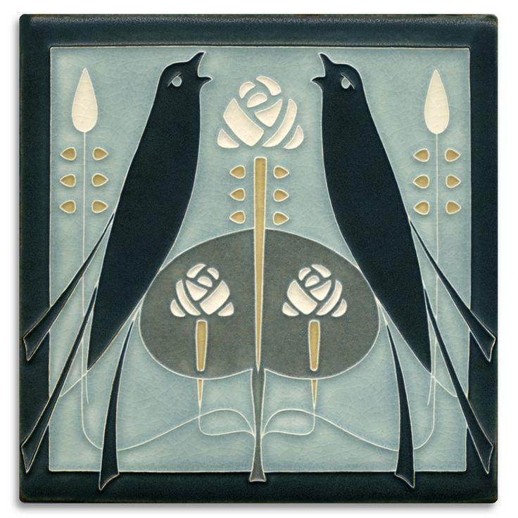 8x8 Songbirds Grey Blue Art Tile Art Handcrafted Art