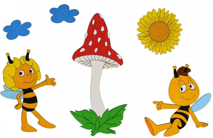 Wanddeko Biene Maja und Pilz von HOBEA-Germany  #Kinderzimmer #Wanddekoration #Wandsticker #Holzsticker #Einrichtung #Kidsroom #Biene #Maja #Willi #Gestaltung #HOBEA #HOBEAGermany