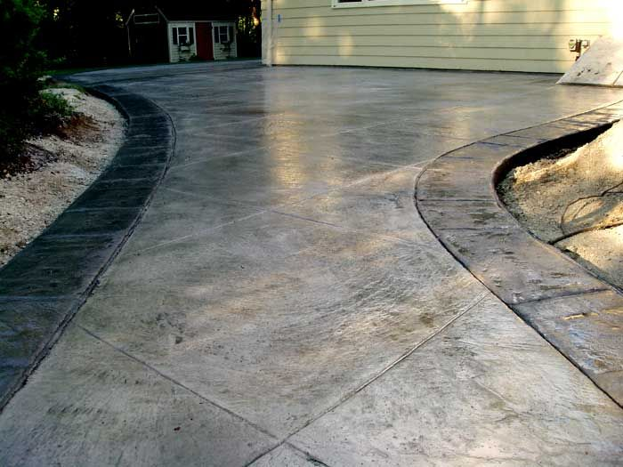stamped concrete with stamped border | Backyard living