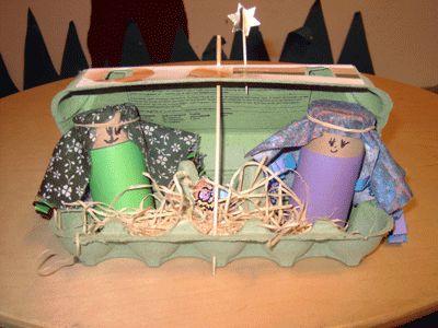 kerststal eierdoos