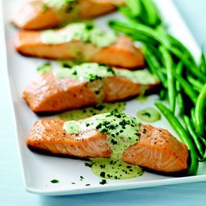 Grilled Salmon with Creamy Pesto Sauce Recipe - Philadelphia Cream Cheese Recipe - Delish