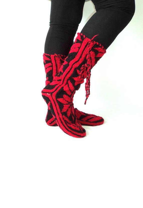 Christmas Gift, Warm, Long, Cozy, Wool Socks, Mukluk, Long Slippers