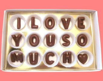I Love You So Much Valentines Gift for Him Her First 1st Anniversary Gift Boyfriend Men Girlfriend Woman Husband Large Milk Chocolate Letter #girlfriendanniversarygifts