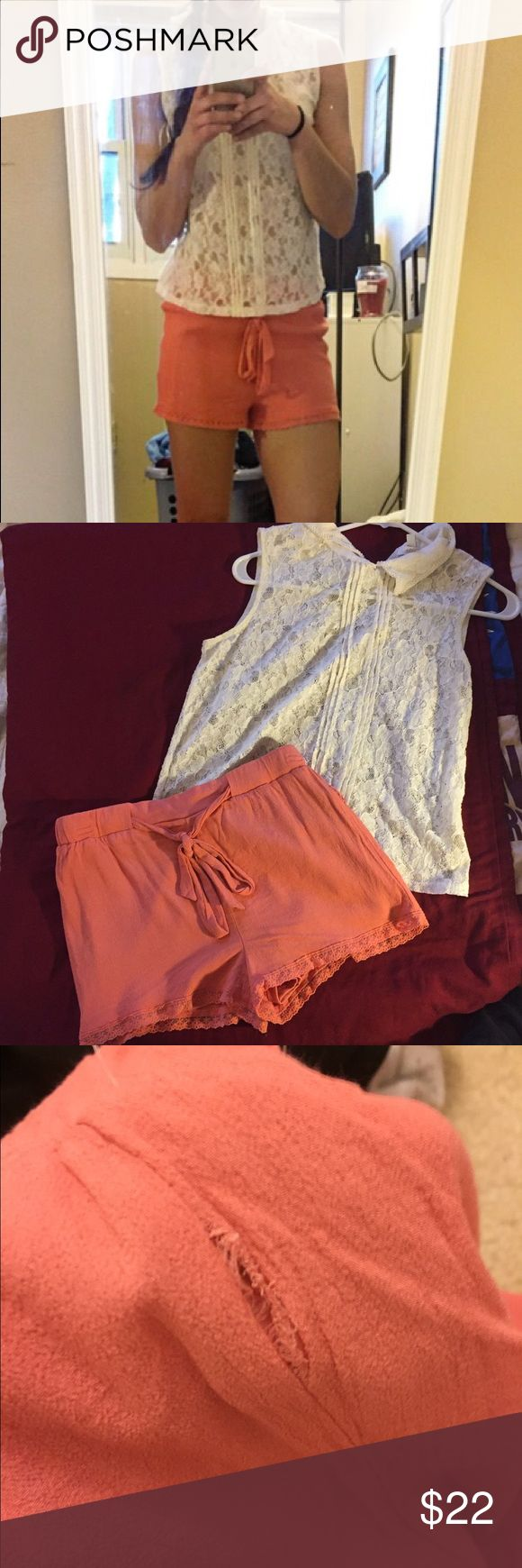 Lace Shirt with Coral rayon shorts Shorts have tear in the side, it's not noticeable! Perfect for an open house, party, or night out! ***selling together*** shirt labeled L but fits as S Forever 21 Tops Blouses