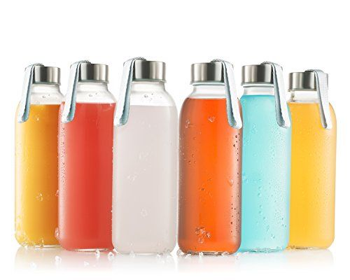 glass bottles 6 Pack 16oz - glass drinking bottles for Beverage and Juice - water bottle glass with stainless Steel Caps with Carrying Loop - Leak-Proof Lid ** Read more reviews of the product by visiting the link on the image.-It is an affiliate link to Amazon.