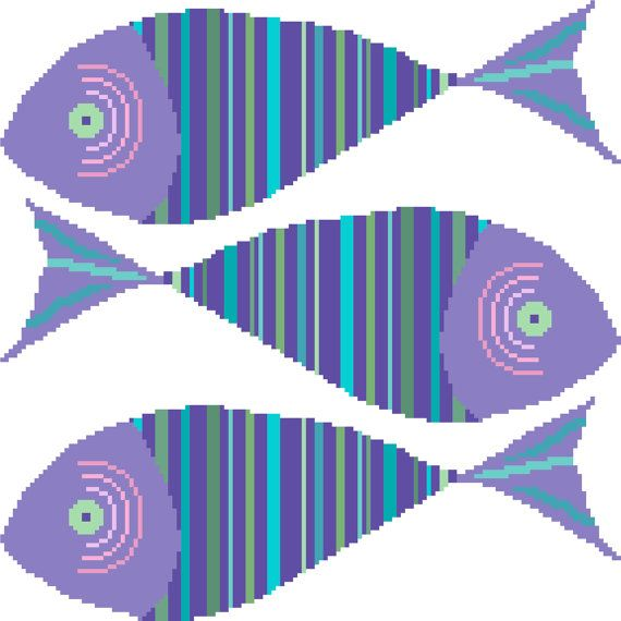 "This cross stitch pattern depicts a group of three happily striped fish in bright, light colours. The simple decorative pattern is very easy to stitch and adds to the cheerful feel of the finished project.  This listing is for the PDF cross stitch chart shown. It's worked over 144X144 stitches and it will measure approximately 10"" ½ (26cm) on each side on Aida count 14. You will receive 1 PDF chart (see extract above) that prints onto 6 pages together with a 2-page cover containing basic…"