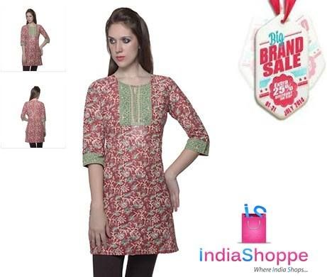Enjoy classy and contemporary look with feminine overtones from the house of @Aurelia. Traditional looking kurta in classic fabric of kalakari prints in striking red and contrasting green shaded patchwork on neckline and sleeves that totally commands respect. Biggest SAVINGS of the month @ Indiashoppe http://goo.gl/A4lCWa